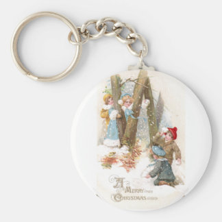 Snowball Fight Vintage Christmas Keychain
