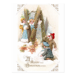 Snowball Fight Vintage Christmas Postcard