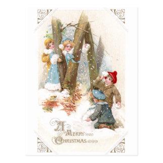 Snowball Fight Vintage Christmas Postcard