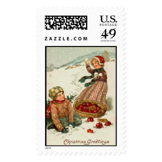 Snowball Fight Vintage Christmas Stamps