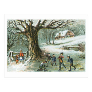 Snowball Fight - Vintage Holiday Card