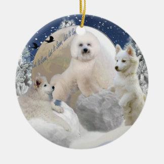 snowball play ceramic ornament