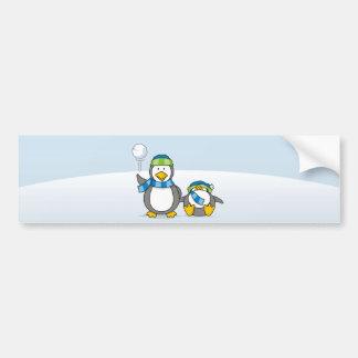Snowballing penguins bumper sticker