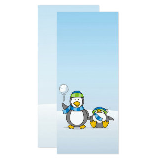 Snowballing penguins card