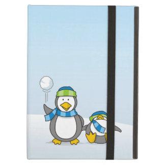 Snowballing penguins iPad air cases