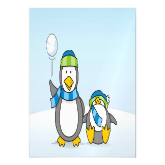 Snowballing penguins magnetic card