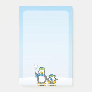 Snowballing penguins post-it notes