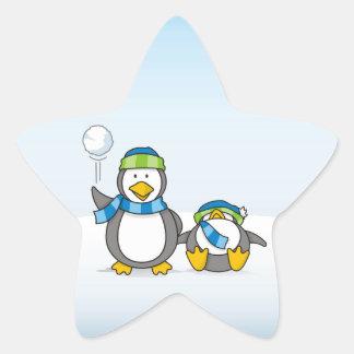 Snowballing penguins star sticker