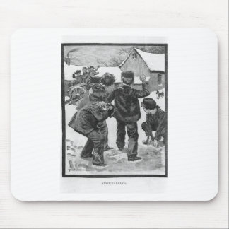 Snowballing! Vintage Victorian Christmas Winter Mouse Pad