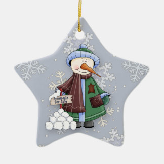 Snowballs for Sale Double-Sided Star Ceramic Christmas Ornament