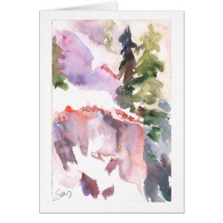 Snowbank rosado de la montaña tarjeta de felicitación