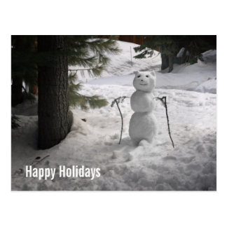Snowbear Snowman Holiday Postcard
