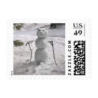 Snowbear Snowman on Skis Holiday Postage Stamps