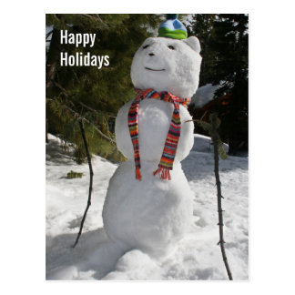 Snowbear Snowman on Skis Holiday Postcard
