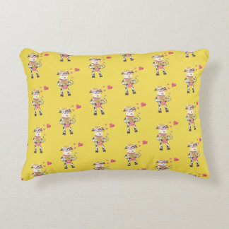 Snowbell in love yellow accent pillow