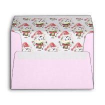 Snowbell the cow Happy Holidays pink envelope