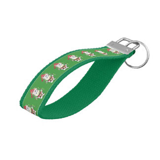 Snowbell the cow pattern green wrist keychain