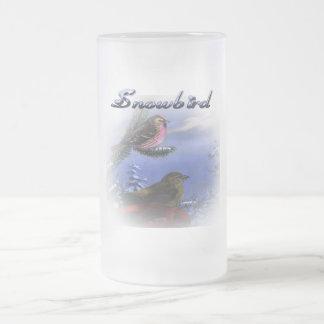 Snowbird blue 16 oz frosted glass beer mug