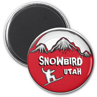 Snowbird Utah red black theme snowboard magnet