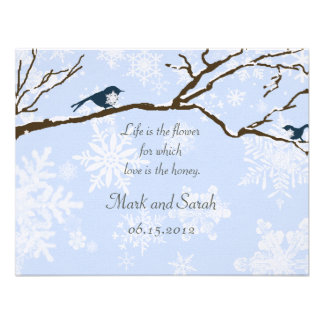Snowbirds and Snowflakes Blue Linen RSVP Personalized Invitations