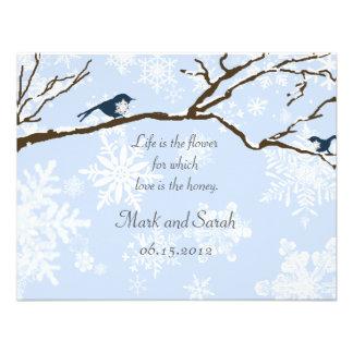 Snowbirds and Snowflakes Blue RSVP Custom Invites