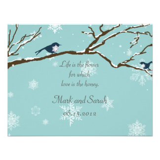 Snowbirds and Snowflakes Robin Blue RSVP Personalized Invite