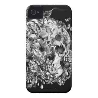 Snowbirds, skull made of birds and flowers iPhone 4 cases