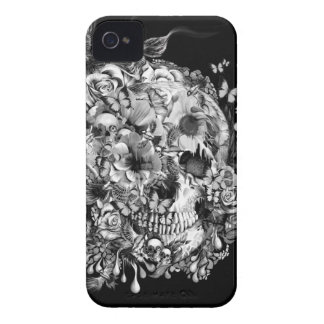 Snowbirds, skull made of birds and flowers Case-Mate iPhone 4 case