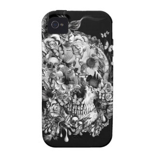 Snowbirds, skull made of birds and flowers iPhone4 case