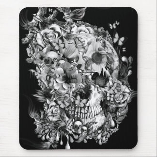 Snowbirds, skull made of birds and flowers mouse pad