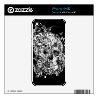 Snowbirds, skull made of birds and flowers iPhone 4 skins