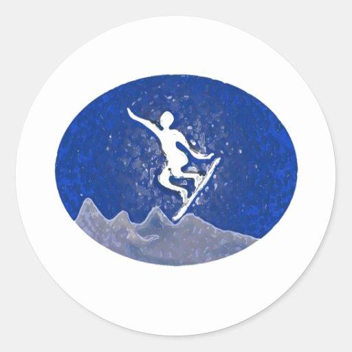 snowboard1basic pegatina redonda