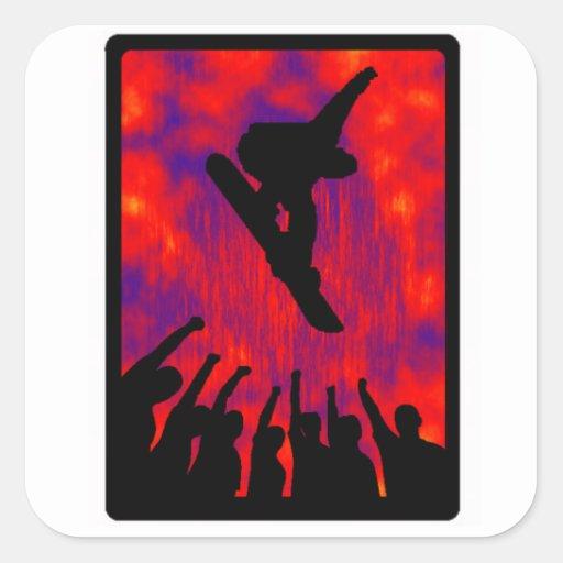 snowboard all advance square sticker
