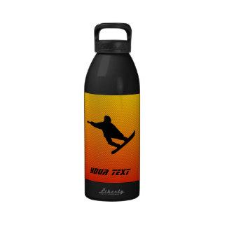 Snowboard amarillo-naranja botella de beber