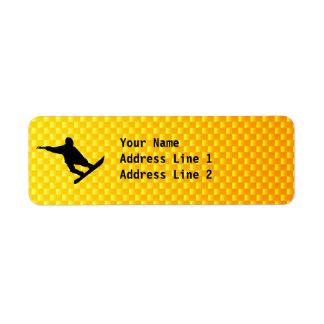 Snowboard amarillo-naranja etiqueta de remite
