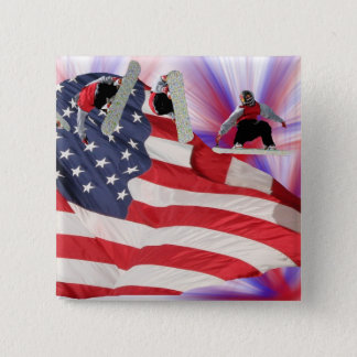 Snowboard American Flag Square Button
