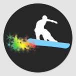 snowboard. arco iris pegatinas redondas