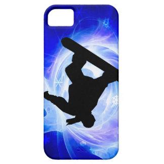 Snowboard azul de la nevada del remolino iPhone 5 Case-Mate cárcasas