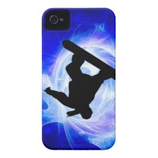 Snowboard azul de la nevada del remolino funda para iPhone 4 de Case-Mate