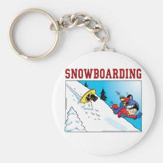 Snowboard Basic Round Button Keychain