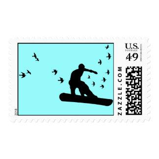 snowboard. board with birds. blk. postage