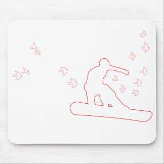 snowboard. board with birds. red outline. mouse pad