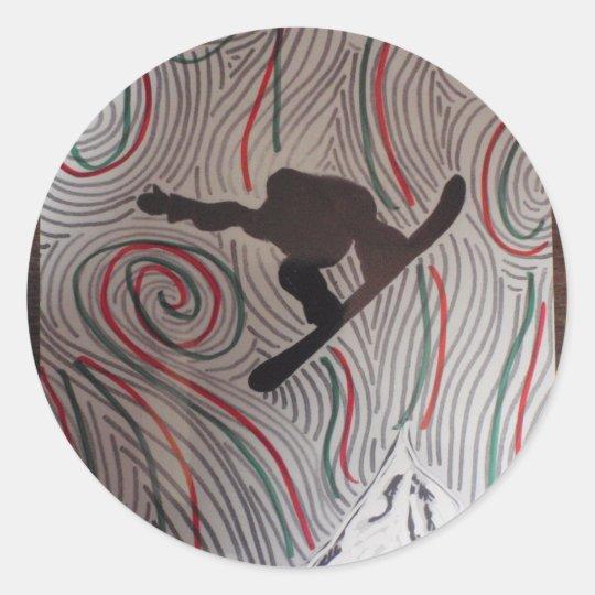 snowboard burst classic round sticker