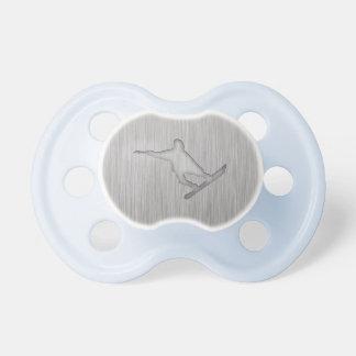 Snowboard cepillada de la Metal-mirada Chupetes Para Bebés
