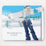 Snowboard Chick Mousepads