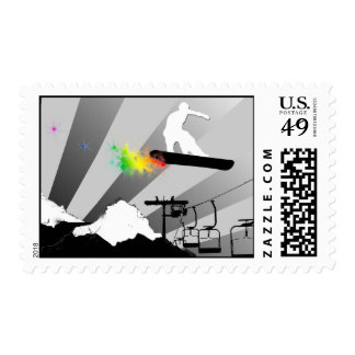 snowboard. color. postage stamps