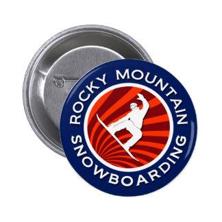 Snowboard de la montaña rocosa pin redondo 5 cm
