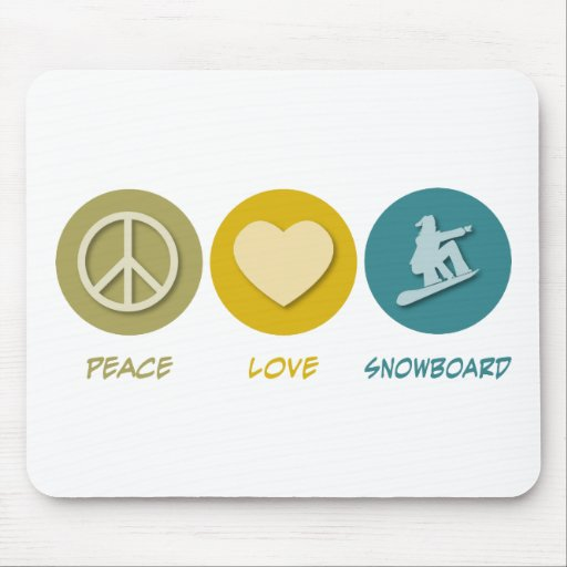 Snowboard del amor de la paz tapete de raton
