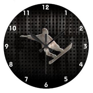 Snowboard del Grunge Reloj Redondo Grande
