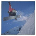 Snowboard en el centro turístico del Snowbird, Uta Azulejo Cuadrado Grande